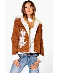 Boohoo Ava Corduroy Sherpa Cuff Fur Collar Applique Jacket