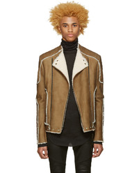 Beige shearling biker jacket medium 1157368