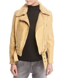 Belted shearling fur moto jacket marigold medium 3741505