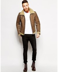 Asos Brand Biker Jacket In Faux Shearling | Where to buy & how to wear