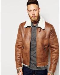 Asos Brand Faux Shearling Jacket In Tan