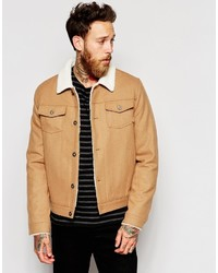 Asos Brand Wool Bomber With Faux Shearling Lining And Collar
