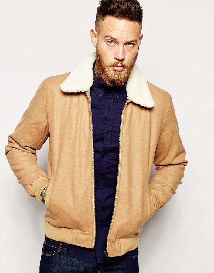 Asos Brand Wool Harrington Jacket With Faux Shearling Collar In ...