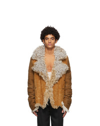 Ann Demeulemeester Brown And Off White Shearling Jacket