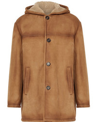 Prada Burnished Shearling Hooded Coat