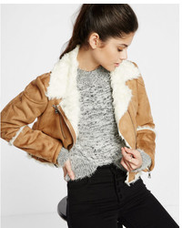 Camel faux shearling moto jacket medium 5027796