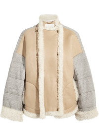 Chloé Oversized Shearling And Quilted Cotton Jersey Jacket Cream