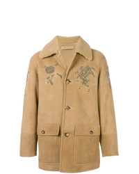 Embroidered shearling coat medium 7816160