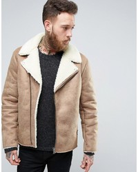 Asos Faux Shearling Biker Jacket In Camel