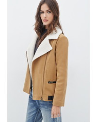 Forever 21 Contemporary Faux Shearling Lined Moto Jacket