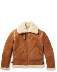 Acne Studios Ian Leather Trimmed Shearling Jacket