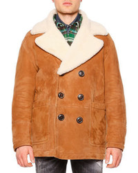 DSQUARED2 Long Sleeve Shearling Fur Collar Coat Brown