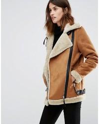 Vero Moda Longline Aviator Faux Shearling Jacket