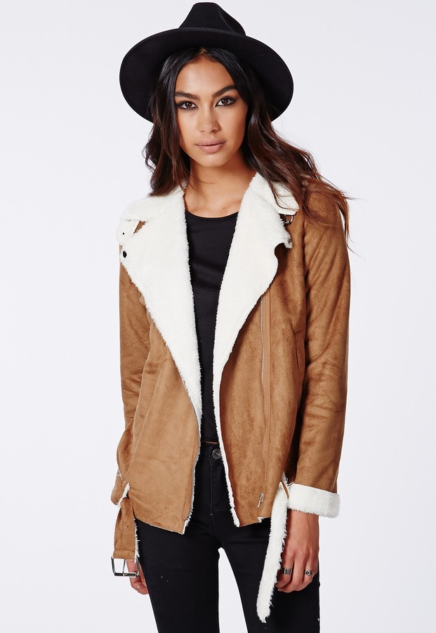 Missguided Bliss Faux Suede Shearling Jacket Tan | Where to buy ...