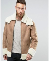 Asos Oversized Shearling Jacket In Camel