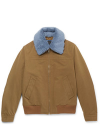 Prada Shearling Trimmed Shell Flight Jacket