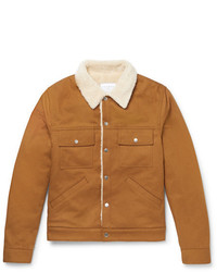Sandro Slim Fit Faux Shearling Lined Cotton Twill Jacket