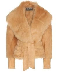 Balmain Suede And Lamb Fur Jacket