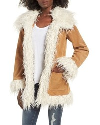 Sun & Shadow Suede Jacket With Faux Shearling Trim