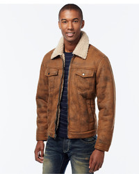 INC International Concepts Zip Front Jacket With Faux Shearling Collar Only At Macys