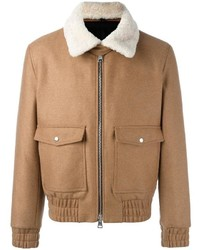 Zipped bomber jacket shearling collar medium 1157371