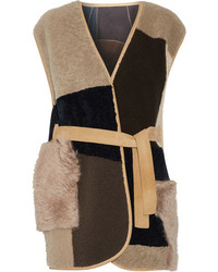 MiH Jeans Mih Jeans Lana Reversible Patchwork Shearling Gilet Brown