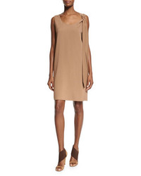 Agnona Sleeveless Shoulder Tie Shift Dress Phard Brown