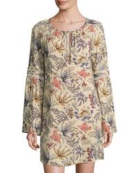 WAYF Botanical Raglan Sleeve Shift Dress Beige
