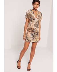 Missguided Deep V Plunge Shift Dress Nude