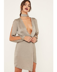 Missguided Nude Silky Choker Detail Long Sleeve Shift Dress