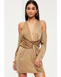 Missguided Nude Silky Cold Shoulder Knot Shift Dress