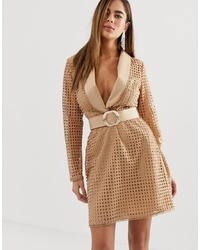 ASOS DESIGN Tux Mini Dress In Broderie With Belt