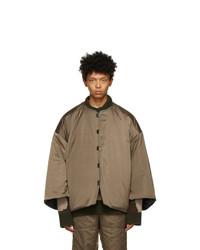 A. A. Spectrum Khaki And Black Mandarin Puffer Jacket