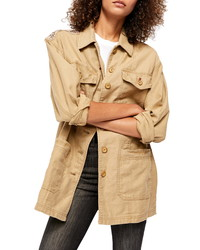 Free People Seamed Structured Patchwork Cotton Jacket