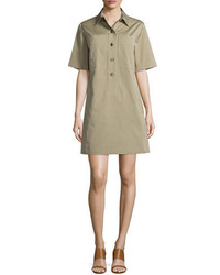 Michl kors collection short sleeve utility shirtdress sand medium 652082