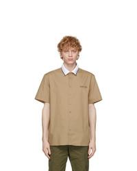 Helmut Lang Beige Poplin Short Sleeve Shirt