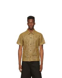 Bottega Veneta Brown Leather Perforated Shirt
