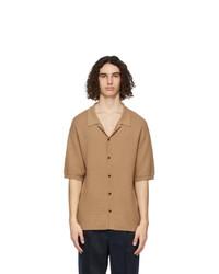 King and Tuckfield Brown Wool Camp Short Sleeve Shirt