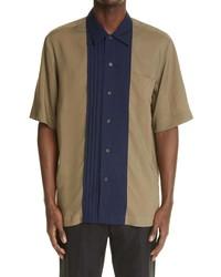Dries Van Noten Camillo Pintuck Placket Button Up Shirt