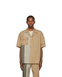 Feng Chen Wang Khaki Panelled Short Sleeve Shirt