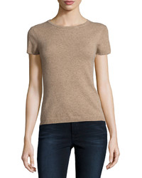 Neiman Marcus Cashmere Short Sleeve Pullover Top Tan