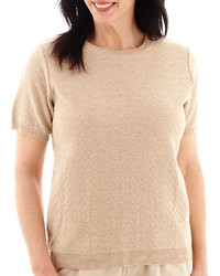 Alfred Dunner Short Sleeve Chevron Sweater