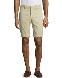 Robert Graham Journeyman Solid Flat Front Shorts Beige