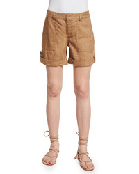 Alice + Olivia Zahra Linen Blend Cargo Shorts Tan