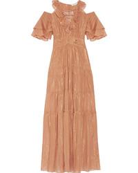 Cecily tiered metallic cotton and silk blend maxi dress tan medium 530279