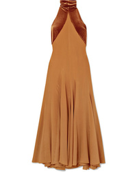Haider Ackermann Asymmetric Silk De Chine And Velvet Maxi Dress