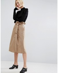 Asos Midi Skirt With Belt Detail