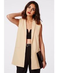 Missguided tolipa sleeveless longline blazer camel medium 227727