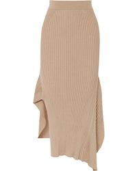 Stella McCartney Asymmetric Ribbed Wool And Midi Skirt