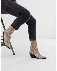 ASOS DESIGN Arkansas Leather Western Boots In Snake